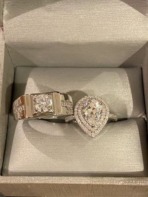 Stamped 925 Sterling Silver Engagement/Wedding Ring Set- Code 561 for Sale in San Jose, CA