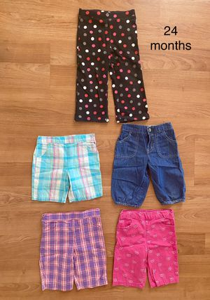 Lot of toddler girl shorts, capris and pants, size 24 months, $5 total for everything, kids summer clothes for Sale in Surprise, AZ