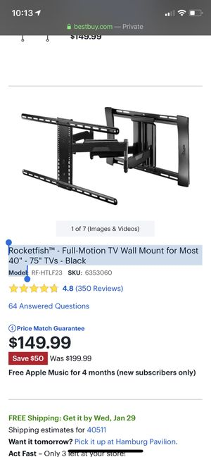 """Rocketfish™ - Full-Motion TV Wall Mount for Most 40"""" - 75"""" TVs - Black Model for Sale in Lexington, KY"""