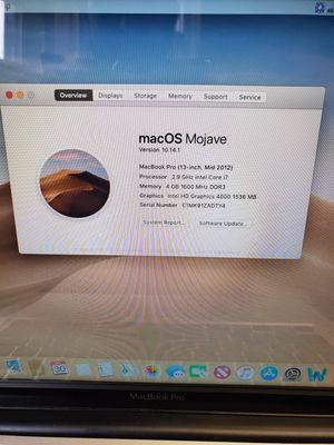 Macbook pro 2012 i7 for Sale in Bridgewater Township, NJ