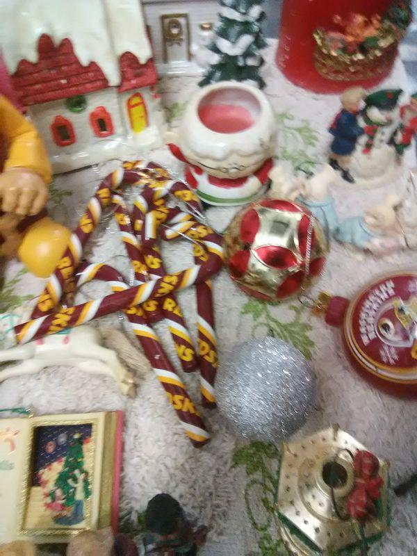 Christmas ornaments decorations figurines Santa Redskins