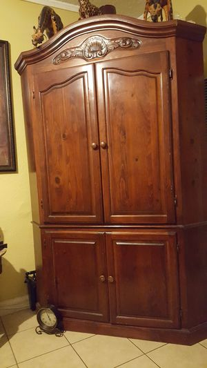 Wood corner tv entertainment for Sale in Ontario, CA