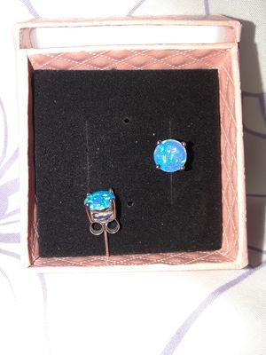 Blue Fire Opal Stud Earrings Sterling Silver for Sale in Vancouver, WA