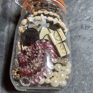 Vintage Canning Jar With Crafting Jewelry for Sale in Snohomish, WA