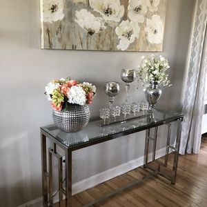 "New chrome glass console table 47""W for Sale in Miami, FL"