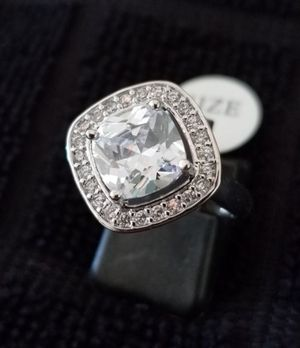 $12 new size 9 silver plated white topaz CZ ring for Sale in Ballwin, MO