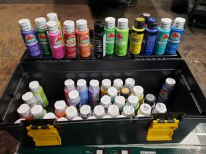 Apple Barrel Acrylic Paints 53 bottles allmost all of them brand new for Sale in Martinez, CA