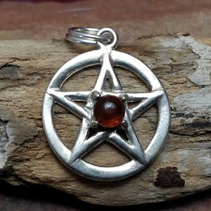 Amber gemstone Silver Pentacle pendant necklace for Sale in Vista, CA