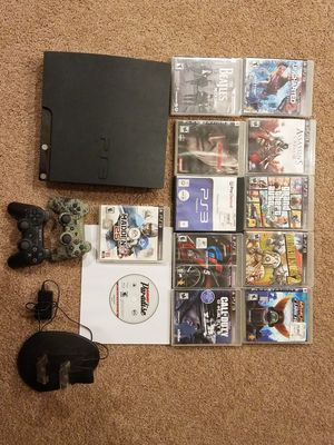 PS3 Slim 120 GB Charcoal Black Console(All Games Included) for Sale in UPPER ARLNGTN, OH