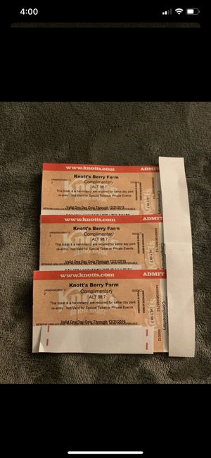Knottsberry farm tickets 🎫.. 3 tickets available $40 Each for Sale in West Covina, CA