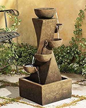 """Cascading Bowl Rustic Outdoor Floor Water Fountain w/ Light LED 27 1/2"""" Yard Garden Patio Waterfall for Sale in Toledo, OH"""