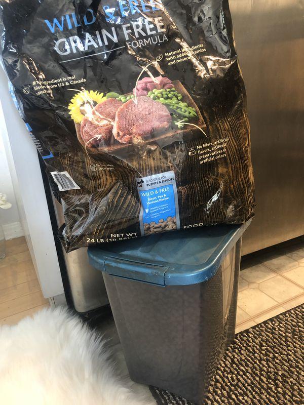 Half bag of grain free premium dog food.