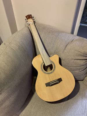 Glarry .39inch Concert Cutaway Spruce Front Folk Acoustic Guitar Burlywood with Bags for Sale in Inglewood, CA