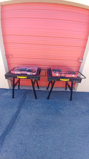 Milwaukee tools and Dewalt foldable working tables for Sale in Tucson, AZ