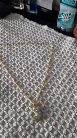 24 inch gold plated rope chain with cz j charm 80 obo today for Sale in Mechanicsburg, PA