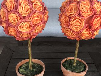 Set of two orange rose topiaries for Sale in Scottsdale,  AZ