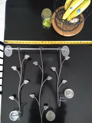 Silver leaf wall candle holders set of #2 for Sale in Ontario, CA