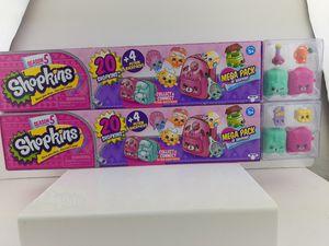 2 pack Shopkins Season 5 Mega Pack -20 shopkins & 4 Petkins Backpacks Jane Frame for Sale in San Bernardino, CA