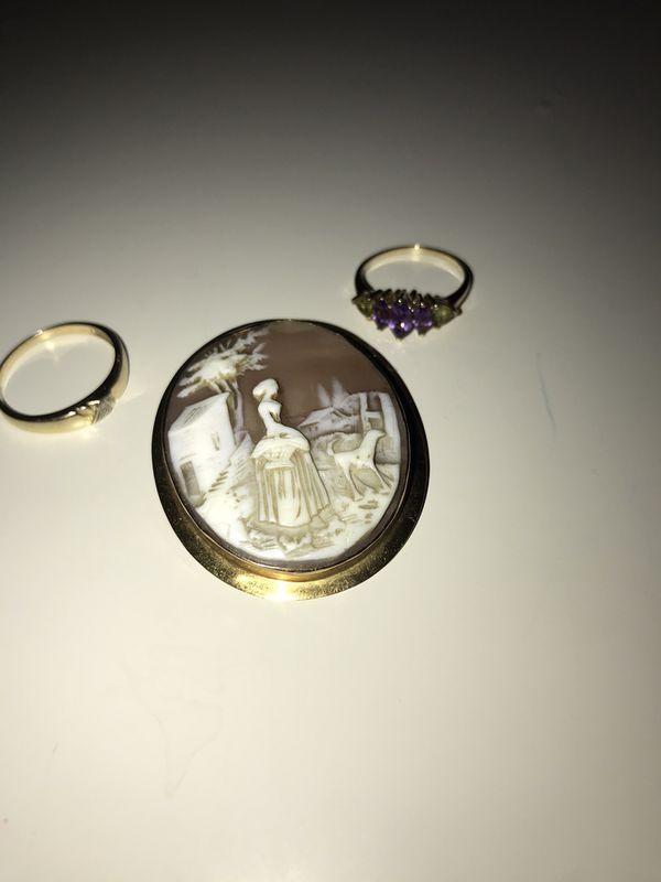 10k yellow gold lot amethyst peridot diamond cameo brooch pin 2 ring rings men women's ring band wedding band like