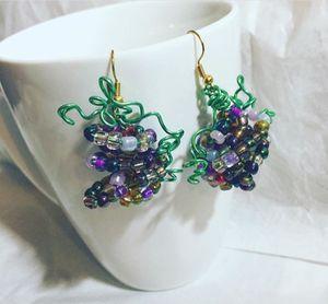 Hand Beaded sterling silver Grape Earrings for Sale in Tyler, TX