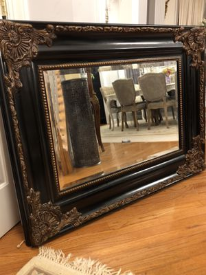 """SERIOUS INQUIRIES PLEASE ""49""X37"" Large Black Antique Style Wooden Mirror for Sale in Gainesville, VA"