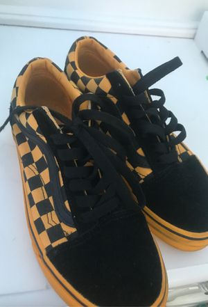Yellow & black checkerboard vans ( cash only ) for Sale in Baltimore, MD