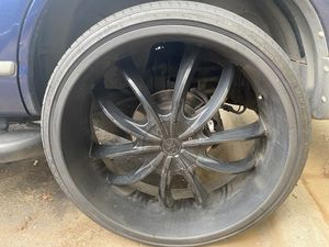 26in Rims All Black w/Tires for Sale in Charlotte, NC