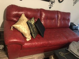 Red leather couch for Sale in Clearwater, FL
