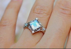 SiLveR PriNcess Cut SquAre RaiNboW MooNstoNe RinG for Sale in Bountiful, UT