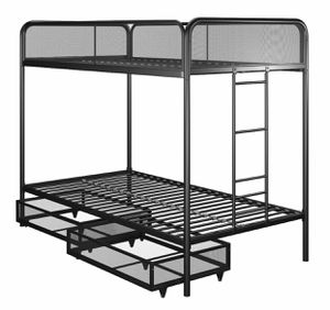 NEW Twin Over Twin Bunk Bed with Storage, Black Metal for Sale in Las Vegas, NV