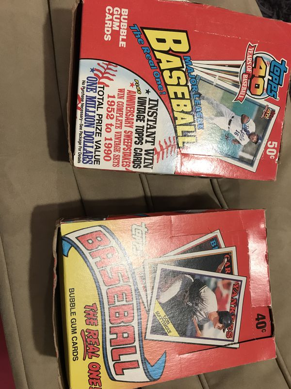 Unopened wax boxes of 1988 and 1991 Topps Baseball Cards