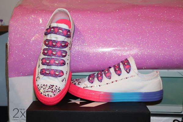 Girls Custom Swarovski Converse size 3