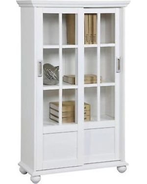 White Bookcase with Sliding glass doors for Sale in Dallas, TX