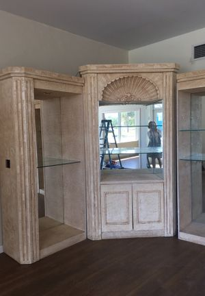 50$ wall unit large working lights glass shelves in 3 pieces cabinet plaster faux painted for Sale in Palm Beach, FL