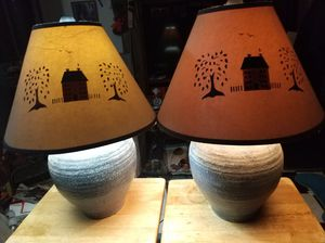 2 Greenish blue Ceramic lamps for Sale in Klamath Falls, OR