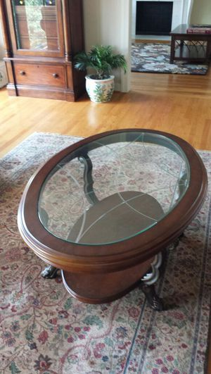 Gorgeous Imported Glass & Wood Coffee Table for Sale in Roanoke, VA