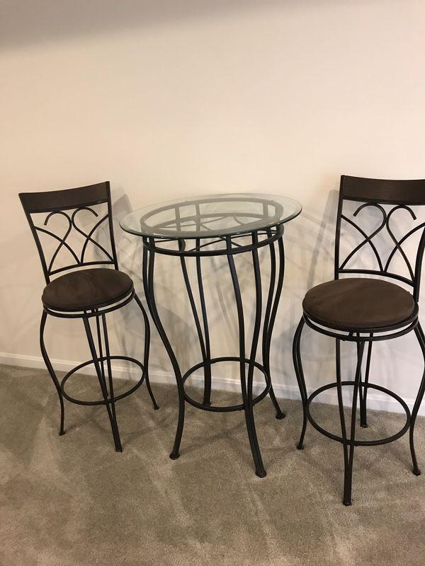 Metal Glass Barstools Table set