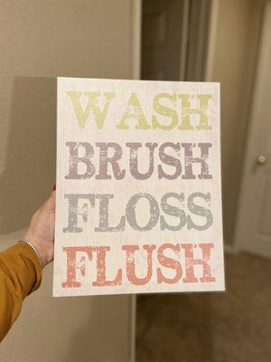 Wash, brush,floss and flush bathroom decor for Sale in Chula Vista, CA