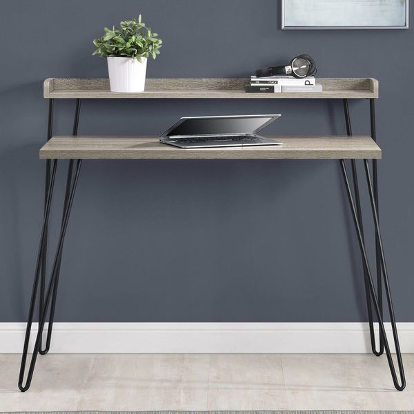 Tiered desk with hairpin legs