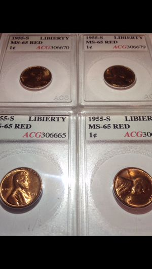 """Valuable Set- Four (4) Mint State 65 1955S Wheat Pennies- Professionally Graded- All W/ """"LIBIERTY"""" Extra Letters Errors! for Sale in Fairfax, VA"""