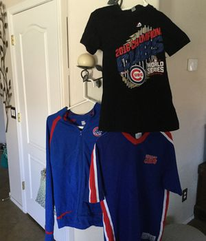 3 Chicago Cubs Pieces Of Apparel- 1 Zip-Up Jacket, 1 Jersey Shirt, & 1 2016 World Series Champs Tshirt for Sale in Laveen Village, AZ