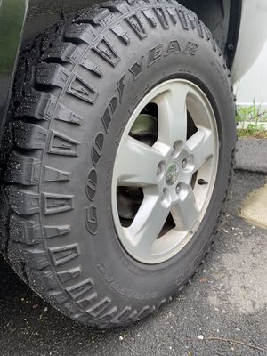 "32"" GoodYear Wrangler Duratrac tires with 17"" Jeep Wheels for Sale in North Providence, RI"