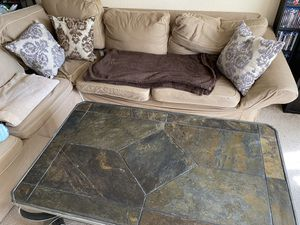 Sectional Couch with stone coffee table and side table for Sale in Seattle, WA