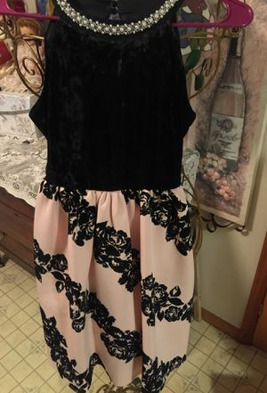 Designer gorgeous dress size 10 misses velvet top with stunning pearl neckline bottom pleated salmon pink soft knit with vertical rows of black velve for Sale in Brecksville, OH