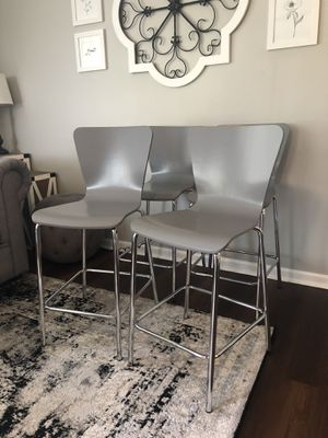 """BRAND NEW! - 4 Grey Barstools - 24"""" Seat Height - Wood and Metal Modern Dining Chairs Stools for Sale in Bolingbrook, IL"""