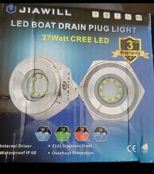 "Jiawill 316L Stainless Steel Underwater 1/2"" NPT 9 to 30V 27w Boat Drain Plug Light with Internal Driver for Sale in Fontana, CA"