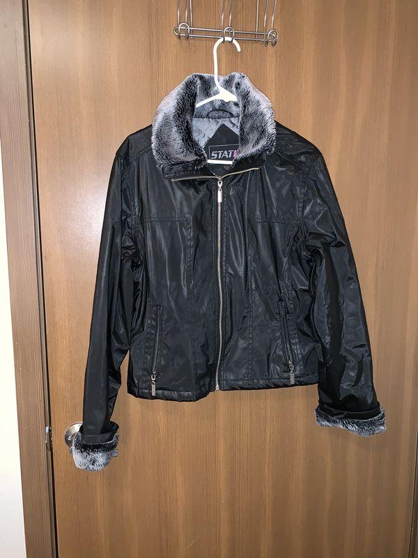 Furry black leather jacket women's size M/L