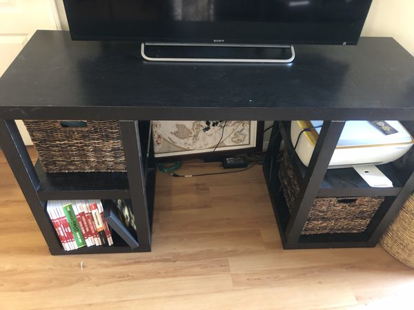 Dark cherry desk/ tv stand