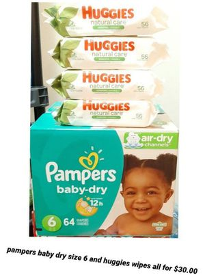 Pampers baby dry size 6 and Huggies wipes for Sale in Los Angeles, CA