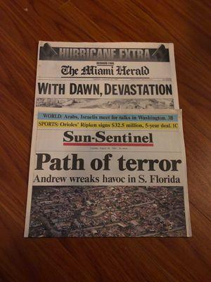 Sun-Sentinel Miami Herald Hurricane Andrew Newspapers for Sale in Davie, FL